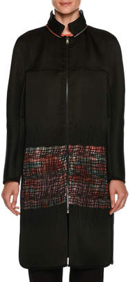 Giorgio Armani Satin Reversible Coat with Floral-Print & Sheer Lattice