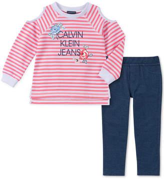 Calvin Klein Tommy Hilfiger Toddler Girls 2-Pc. Striped Cold-Shoulder Top & Leggings Set