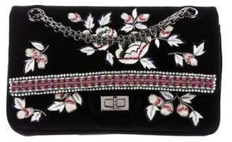 Chanel 2015 Embroidered Strass Velvet 225 Reissue Flap Bag