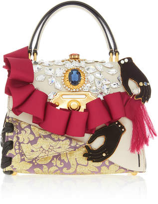 Dolce & Gabbana Ruffle Embellished Top Handle Leather Bag