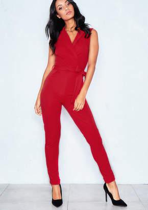 d50c59452268 Missy Empire Missyempire Dahla Red V Neck Sleeveless Jumpsuit