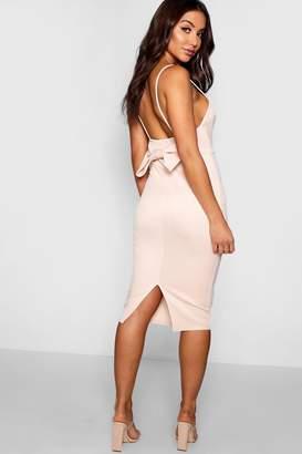 4661fac242b4 boohoo Sweetheart Neck Bow Back Midi Dress