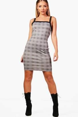 boohoo Check Print Wide Strap Bodycon Dress
