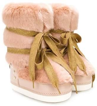 Elisabetta Franchi La Mia Bambina lurex lace-up faux fur snow boots