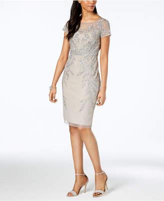 Adrianna Papell Embellished Illusion Dress, Regular & Petite Sizes
