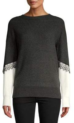 Vero Moda Colorblock Lace-Trimmed Sweater
