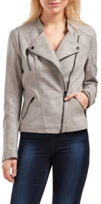 Only NEW Ava Faux Leather Biker Jacket Natural