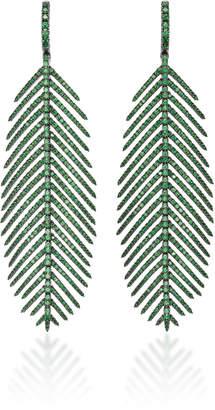 Sidney Garber 18K Feathers That Move Tsavorite Earrings