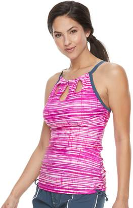 Free Country Women's Bust Enhancer Striped Keyhole Tankini Top
