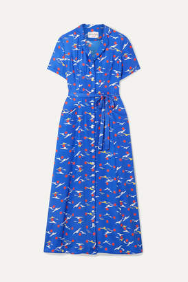 HVN Long Maria Printed Silk Crepe De Chine Midi Dress - Blue