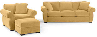 Devon Fabric Living Room Furniture, 3 Piece Set (Queen Sleeper Sofa Bed, Chair and Ottoman): Custom Colors