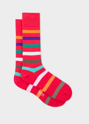 Paul Smith Men's Red Multi-Coloured Stripe Socks