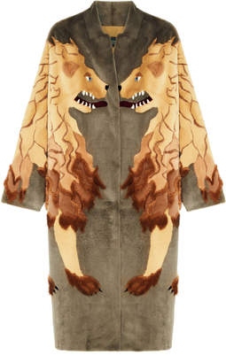 Alena Akhmadullina Lion Print Mink Fur Coat
