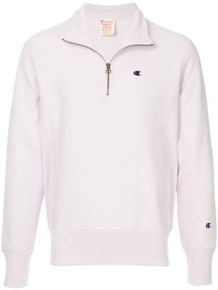 Champion logo embroidered half zip sweatshirt