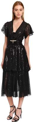 Sequined Midi Dress W/ Crystal Dragonfly