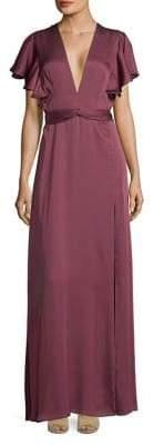 Jill Stuart V-Neck Ruffle Gown