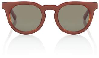 Loewe Leather-trimmed square sunglasses
