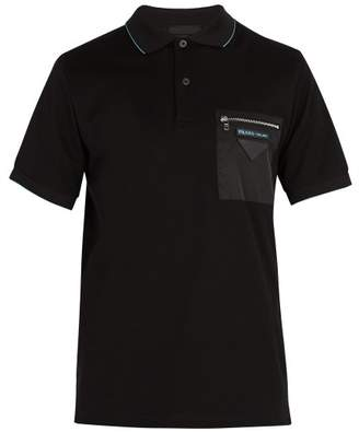 Prada Contrast Pocket Cotton Pique Polo Shirt - Mens - Black