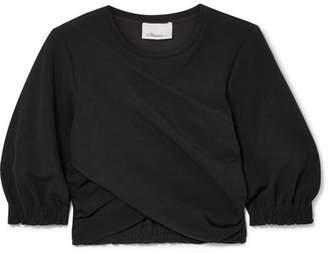 3.1 Phillip Lim - Cropped Twist-front Stretch-jersey Top - Black
