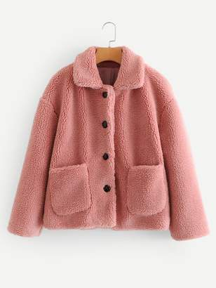 Shein Pocket Front Button Teddy Coat