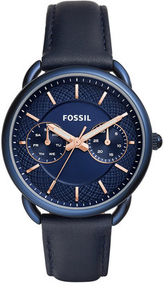 Fossil Women's Tailor Blue Leather Strap Watch 35mm ES4092 $135 thestylecure.com