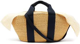 Muun George canvas and woven straw bag