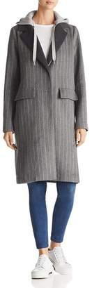 KENDALL + KYLIE Sweatshirt Hood Chalk Striped Coat