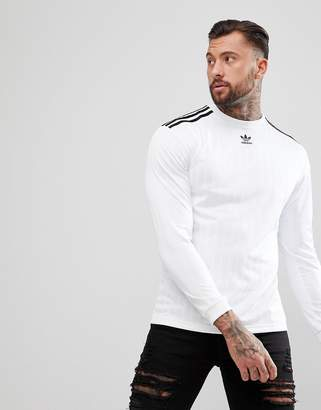 adidas adicolor Long Sleeve Soccer Jersey In White CW1225