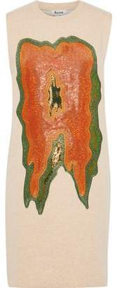 Acne Studios Katja Metallic Embroidered Cotton-blend Fleece Mini Dress