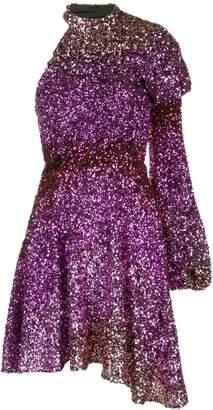 Halpern sequinned one-shoulder mini dress