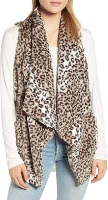 Wit & Wisdom Draped Faux Leopard Fur Vest