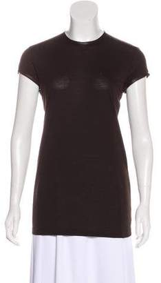 Givenchy Leather-Trimmed Short Sleeve Top