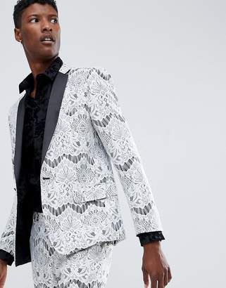 Asos Edition EDITION skinny tuxedo suit jacket in white lace 7ea7bde4db