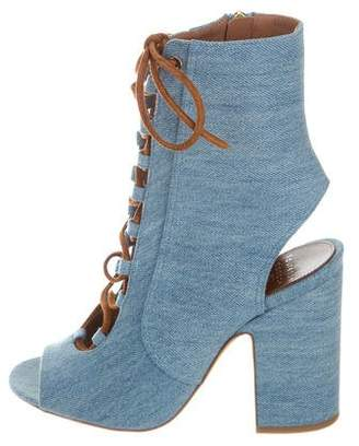 Laurence Dacade Denim Lace-Tie Booties w/ Tags