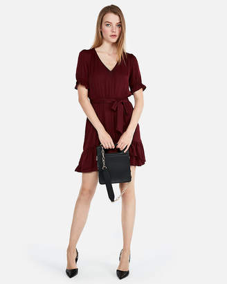 Express Elastic Waist Ruffle Hem Mini Dress
