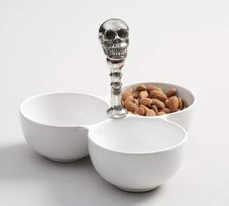 Pottery Barn Metal Skull & Ceramic Condiment Serve