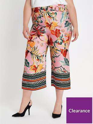 River Island RI Plus Tropical Print Cropped Wide Leg Trouser - Pink