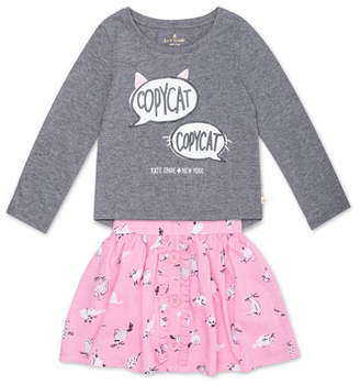 Kate Spade Copycat Long-Sleeve Top W/ Cat-Print Skirt, Size 2-6x