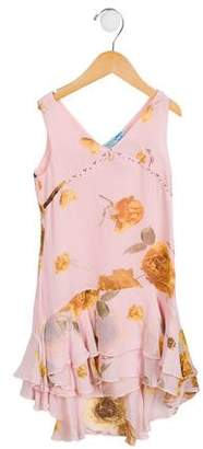 Miss Blumarine Girls' Embellished Floral Print Dress