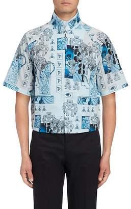 Prada Men's Robot-Print Cotton Shirt Jacket