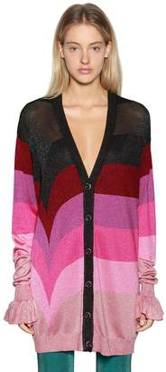 Marco De Vincenzo Oversize Striped Lurex Knit Cardigan