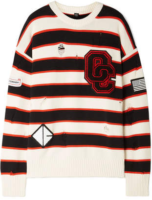 Opening Ceremony Varsity Appliquéd Distressed Striped Cotton-blend Sweater - White