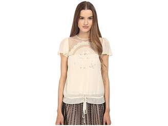 RED Valentino Cut Out Embroidery Point D'esprit Blouse Women's Blouse
