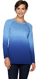 Quacker Factory Dip Dye Ombre French TerrySequin Pullover