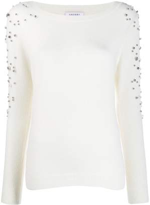 Snobby Sheep pearl-embellished knit sweater