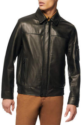 Andrew Marc Men's Lightweight Leather Shirt-Collar Bomber Jacket