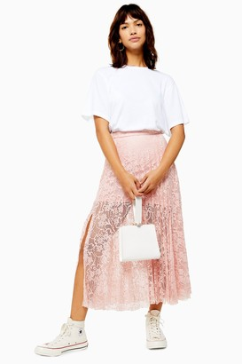 40cc9c4593 Topshop Womens Pleated Lace Midi Skirt - Nude