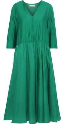 Max Mara Simeone Gathered Cotton And Silk-blend Midi Dress
