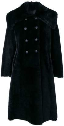Giorgio Armani fur trimmed double breasted coat
