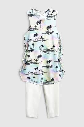 Next Girls Multi Tie Dye Fringed Dress And Leggings Set (3-16yrs)